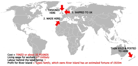 World map of supply chain for River Island boots