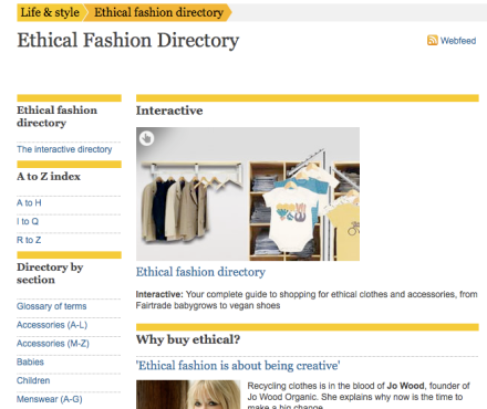 Image of the Guardian's ethical directory website
