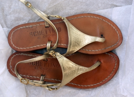 Pre-loved gold sandals